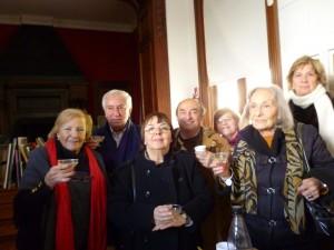 Primera fila: Sra. María Rosa Costa de Arguibel de Donadío, Prof. Celia Codeseira del Castillo, Prof. Nora de Fasani. Segunda fila: Prof. Blas Coria, Dr. Alberto David Leiva, Prof. Mabel Trifaro y Sra. Martha Allen.